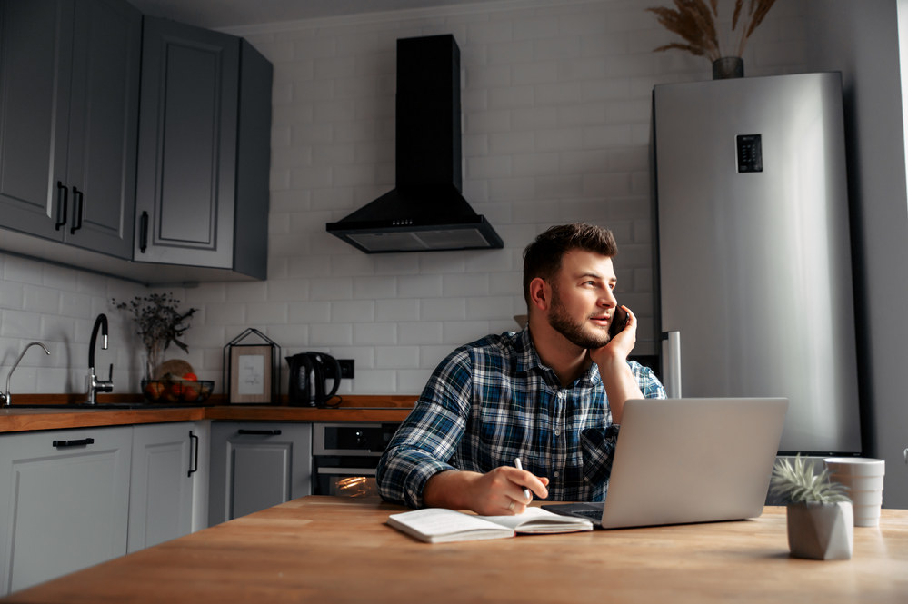 young freelancer working from home with ADD using CBD